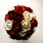 Paper Rose Bouquet - Bridal Bouquet, Red and White