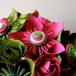 Paper Flower Wedding Bouquet, Green..