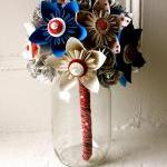 Paper Flower Bouquet, Wedding, Blue..