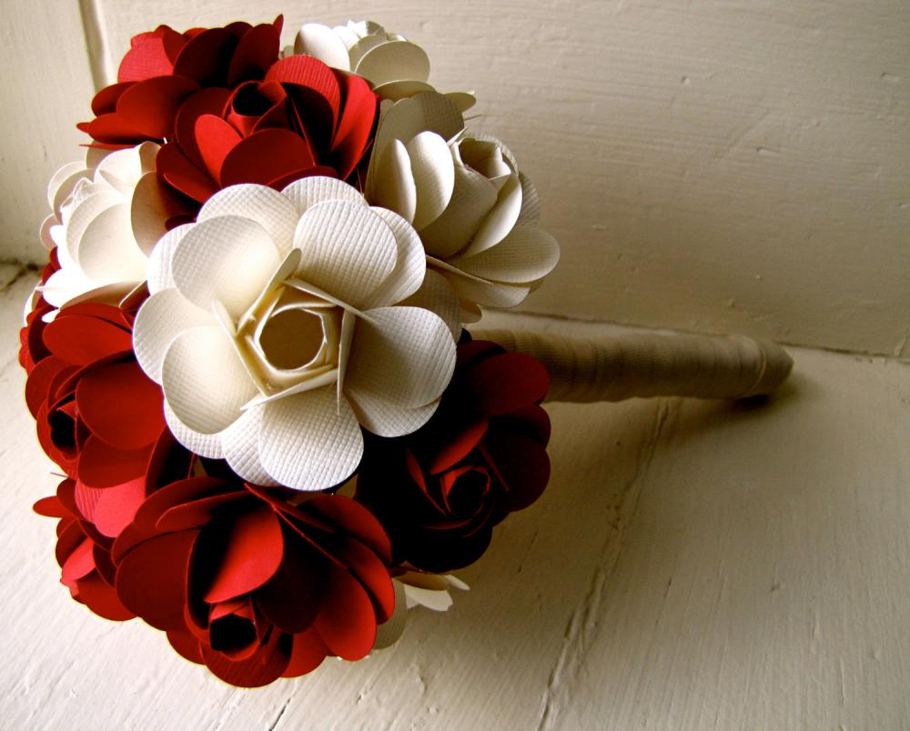 Red and White Paper Rose Flower Wedding Bouquet