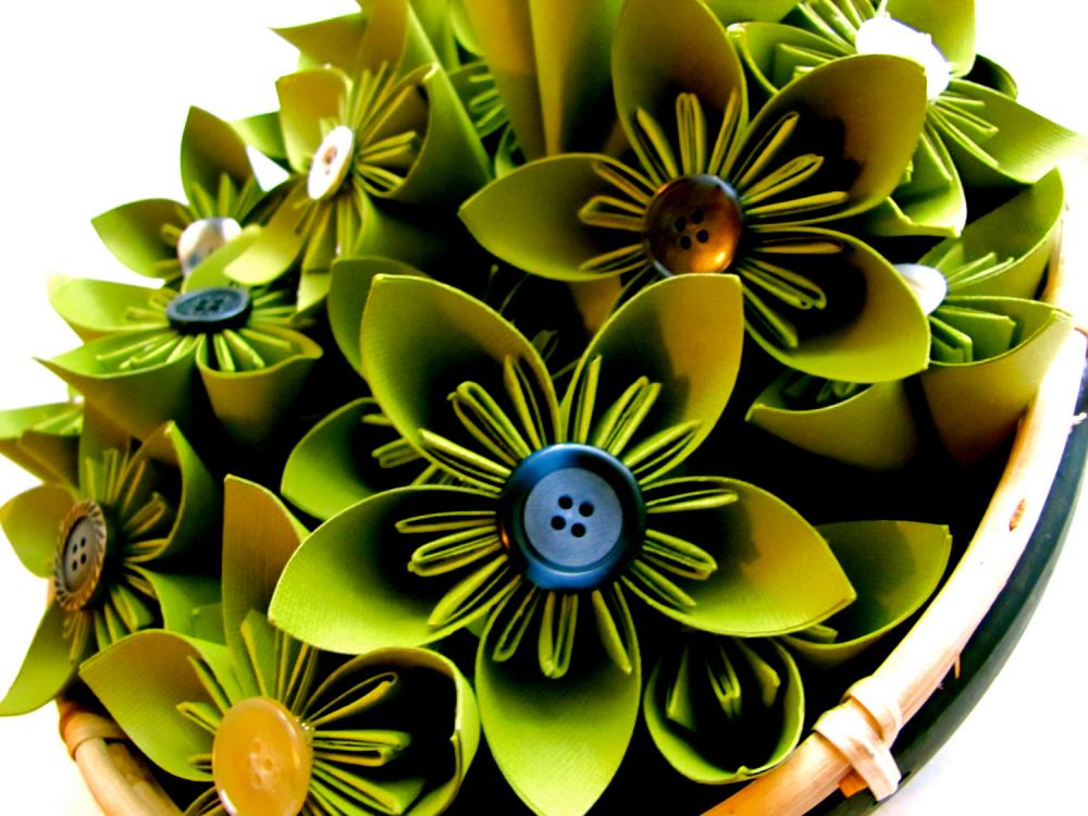 Green Paper Flowers - wedding decorations, home decorations, event decorations, bouquets