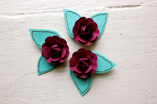 Paper Rose Hairpiece, Bride, Bridesmaid, Green, Fuchsia