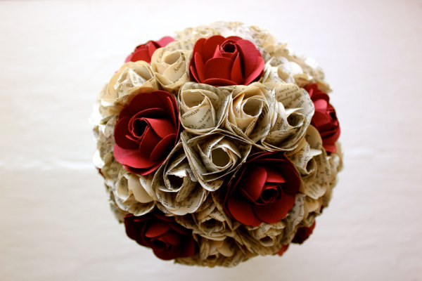Paper Flower Bouquet, Wedding, Book Page Paper, Red, Paper Rose