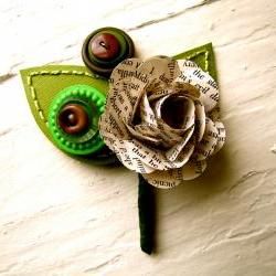 Boutonniere Book Page Rose Flower Buttons for Wedding or Event