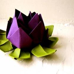 Paper Lotus, Purple and Green, Wedding Decor, Wedding Bouquet, Home Decorations, Event Decorations