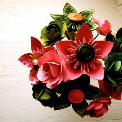 Pink and Green Kusudama and Rose Folded Paper Flower Bouquet for Wedding or Events