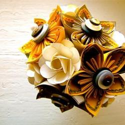 Yellow, Grey and White Kusudama and Rose Folded Paper Flower Bouquet for Wedding or Events