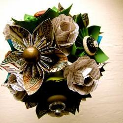 Paper Flower Wedding Bouquet, Green, Teal, Book Pages, Kusudama, Rose