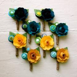 Paper Flower Boutonniere, Wedding, Blue, Green, Yellow, Rose