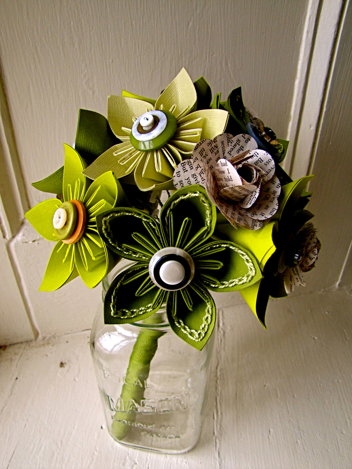 Green Kusudama And Rose Folded Paper Flower Bouquet For Wedding Events By