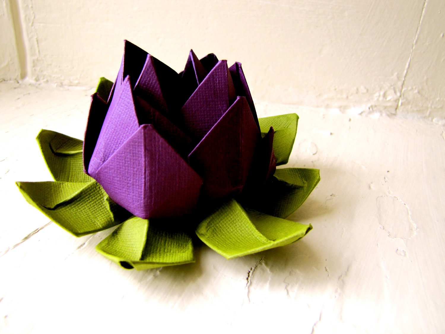 Paper Lotus Purple And Green Wedding Decor Wedding Bouquet Home Decorations Event Decorations
