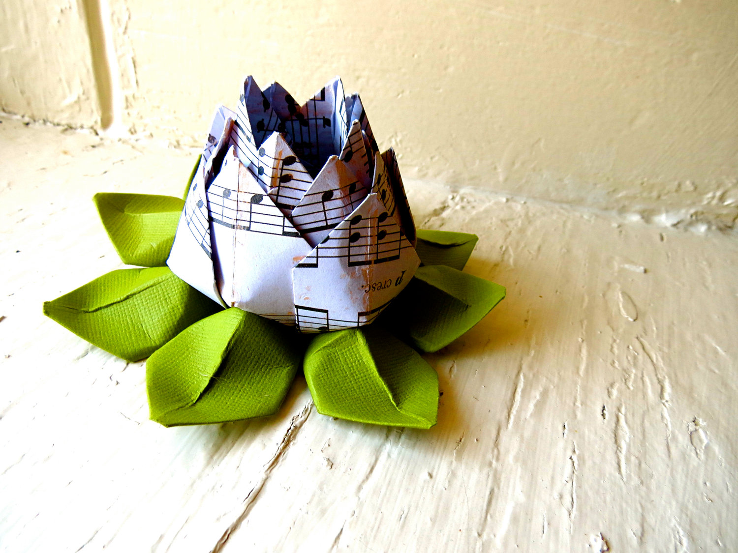 Paper Lotus Music Sheet And Green Wedding Decor Wedding Bouquet Home Decorations Event Decorations