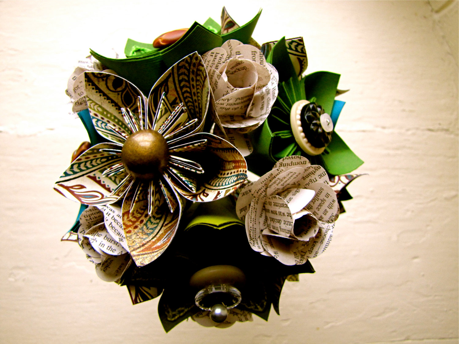 Paper Flower Wedding Bouquet Green Teal Book Pages Kusudama Rose on Luulla