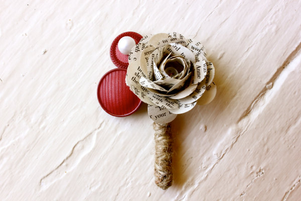 paper flower boutonniere  wedding  book page  buttons